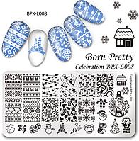 Новогодняя пластина для стемпинга BPX-L008, размер 12*6 см