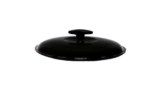 Крышка чугунная, эмалированная цветным покрытием. Диаметр 200 мм. Черный цвет