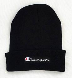 Зимова шапка чорна з логотипом Champion в стилі унісекс чоловіча жіноча