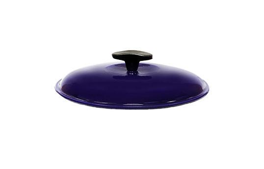 Крышка чугунная, эмалированная цветным покрытием. Диаметр 240 мм. Синий цвет