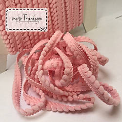 Тасьма з помпонами рожевого кольору 5мм № пм-1