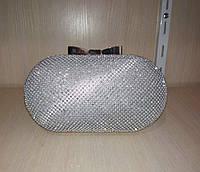 Женская сумочка-клатч в стразах (серебряная) №3549