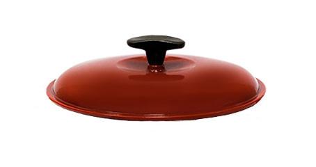 Крышка чугунная, эмалированная цветным покрытием. Диаметр 240 мм. Красный цвет