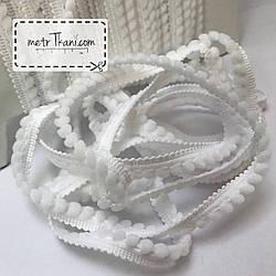 Тасьма з міні-помпонами білого кольору 5мм № пм-0
