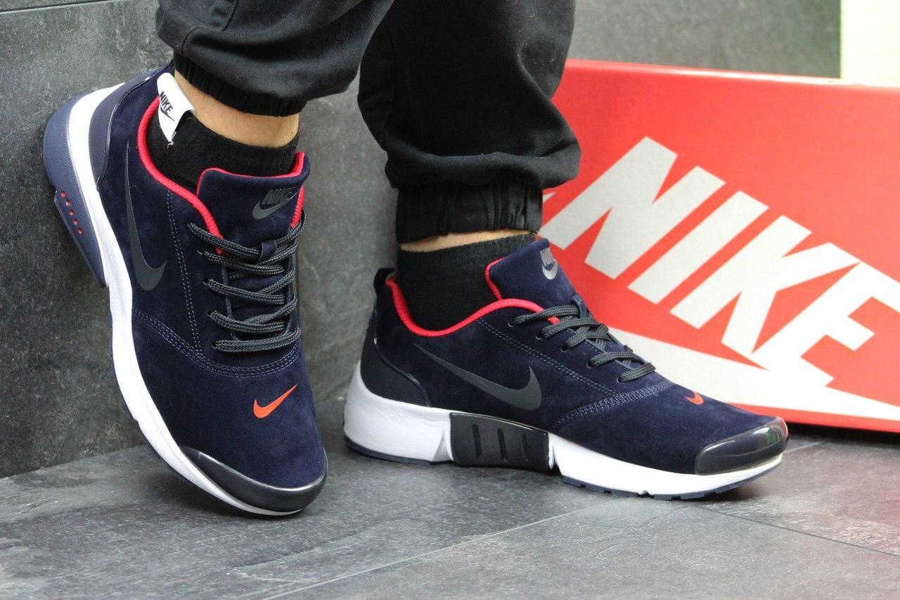 Кроссовки Nike air presto замшевые,синие с красным 43