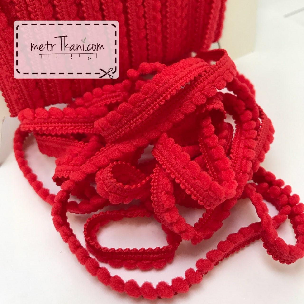 Тесьма с мини-помпонами красного цвета 2мм № пм-4