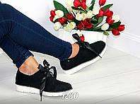 Стильные женские туфли на низком ходу черные эко-замша