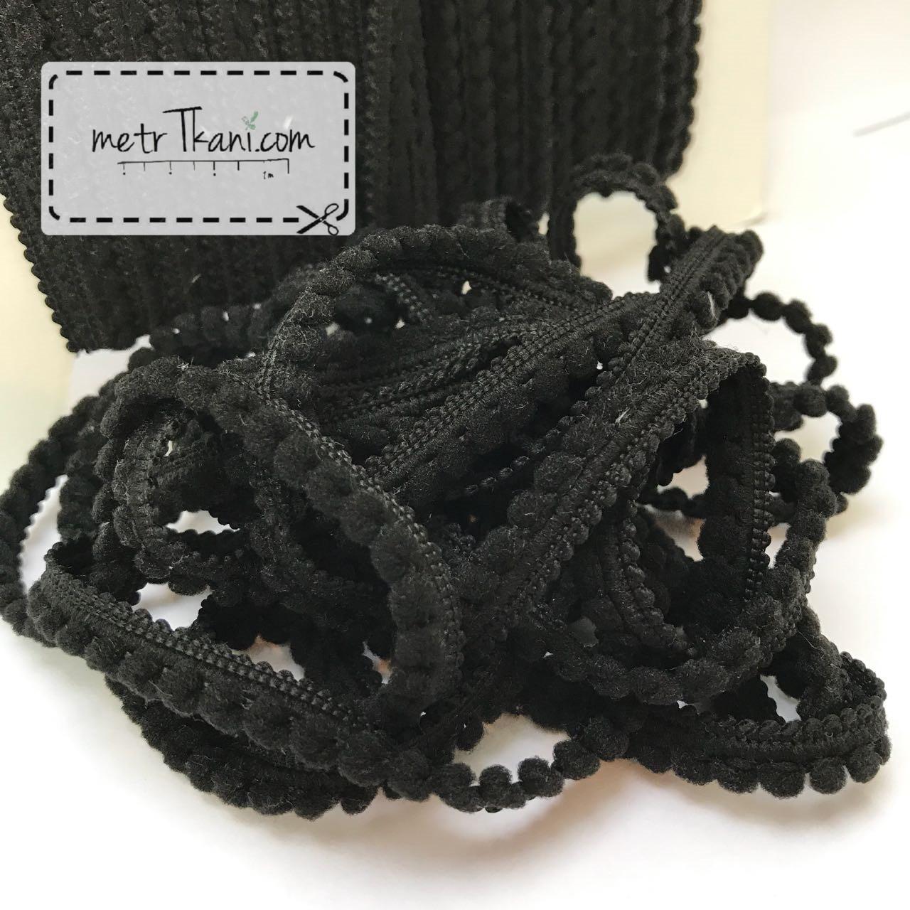 Тесьма с мини-помпонами черного цвета 2мм № пм-5