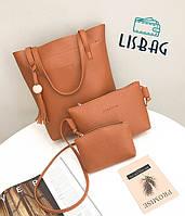 Женский элегантный, модный набор сумок 3 в 1, коричневый