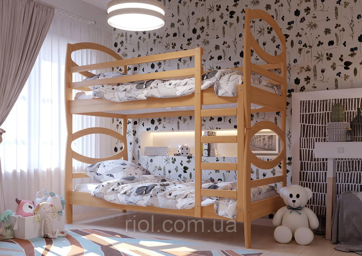 Кровать из натурального дерева двухъярусная Наутилус