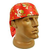 Бандана красная с черепами (золото) 211117-006