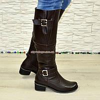 Сапоги женские демисезонные на каблуке, натуральная коричневая кожа флотар., фото 1