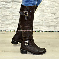 Сапоги женские зимние на каблуке, натуральная коричневая кожа флотар., фото 1