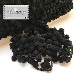 Тесьма с помпонами чёрного цвета 10мм № п-27