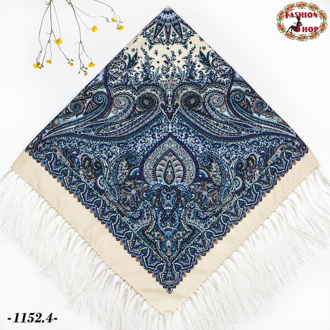 Кремовый павлопосадский шерстяной платок Восточная сказка