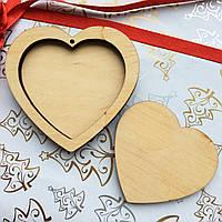 Высечка деревянная Сердце двойное 6,5*6,5см фанера, фото 1
