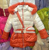 Зимова куртка для дівчинки 6-10 років  OHCCMITH беж-оранжевий