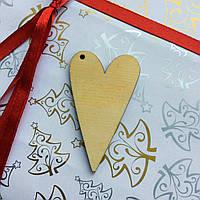 Высечка деревянная Сердце 6*3,5см фанера