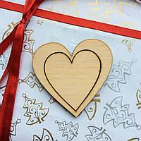 Высечка деревянная Сердце7 6,5*6,5см фанера, фото 1