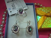 Серебряные кольцо и серьги с циркониями
