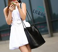 Большая, повседневная сумка-мешок черного цвета