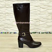 Сапоги женские демисезонные на устойчивом каблуке,коричневая кожа. Хит продаж! , фото 1