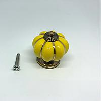 Ручка керамическая. Цвет желтый. 38х37мм