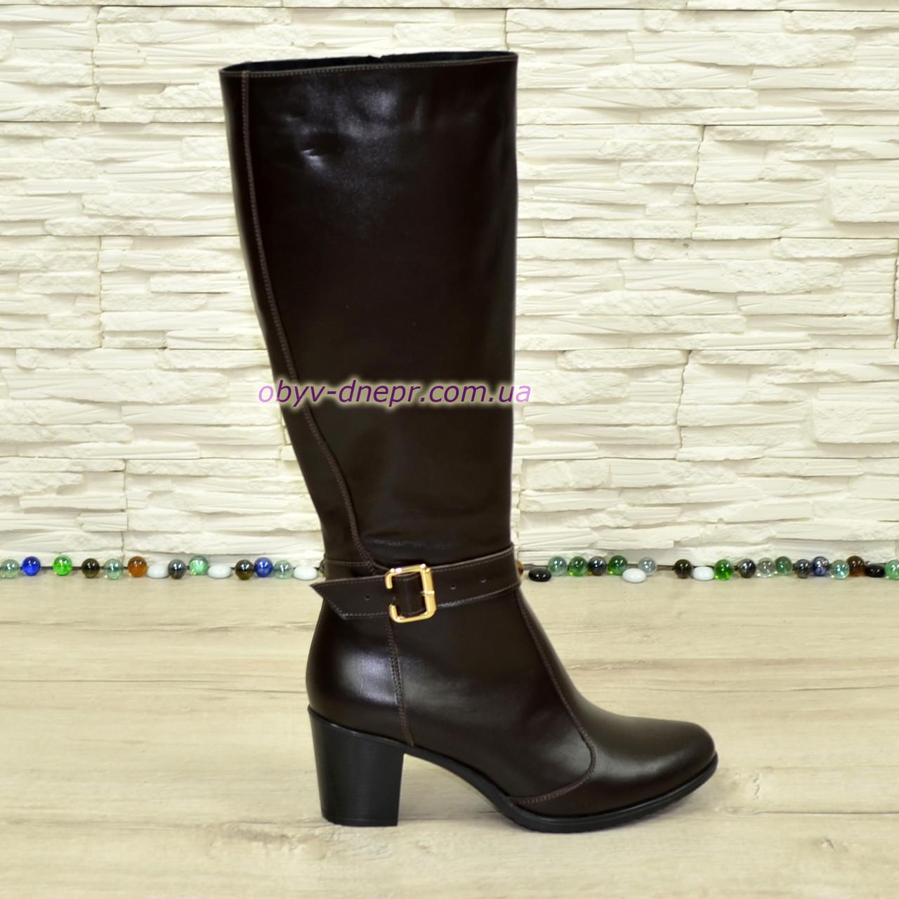 Сапоги женские коричневые кожаные, устойчивый каблук. Батал.