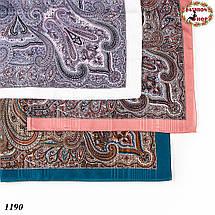 Павлопосадский платок без бахромы морской волны Золушка, фото 3