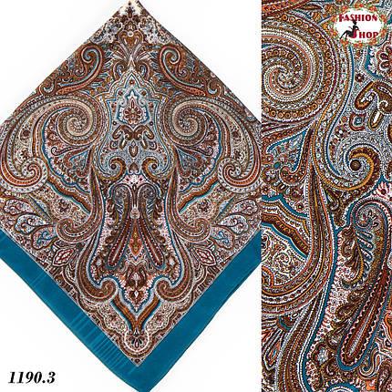 Павлопосадский платок без бахромы морской волны Золушка, фото 2
