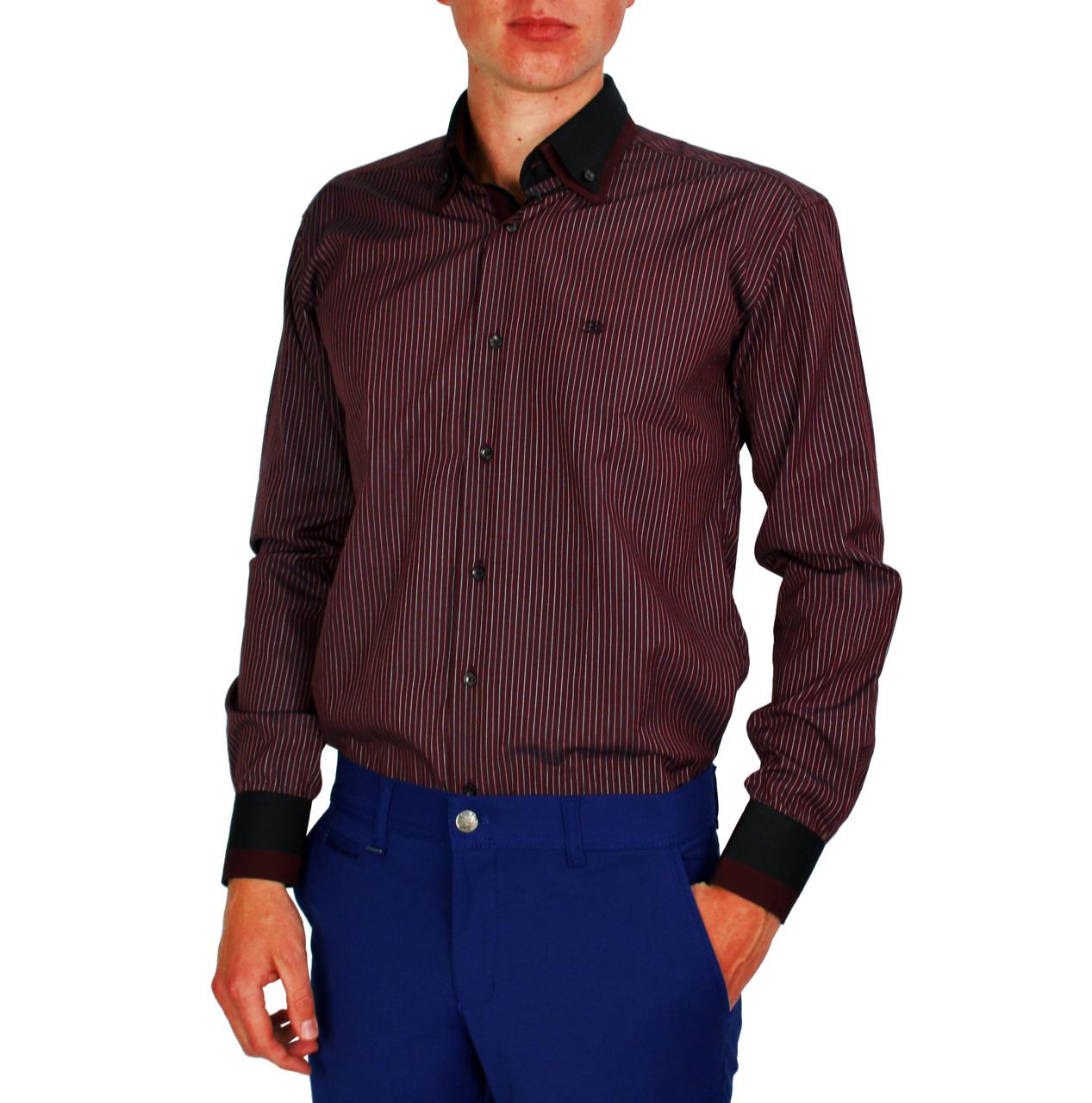 Бордовая в черную полоску мужская рубашка классическая B.Z.N.