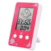 Гигрометр термометр со встроенными часами DM-3190 Pink