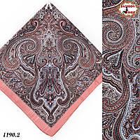 Розовый павлопосадский платок без бахромы Золушка