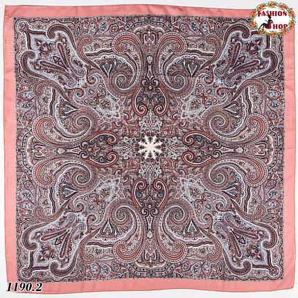 Розовый павлопосадский платок без бахромы Золушка, фото 2