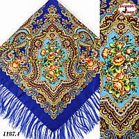 Синий павлопосадский шерстяной платок Елизавета