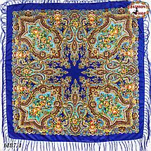 Синий павлопосадский шерстяной платок Елизавета, фото 3