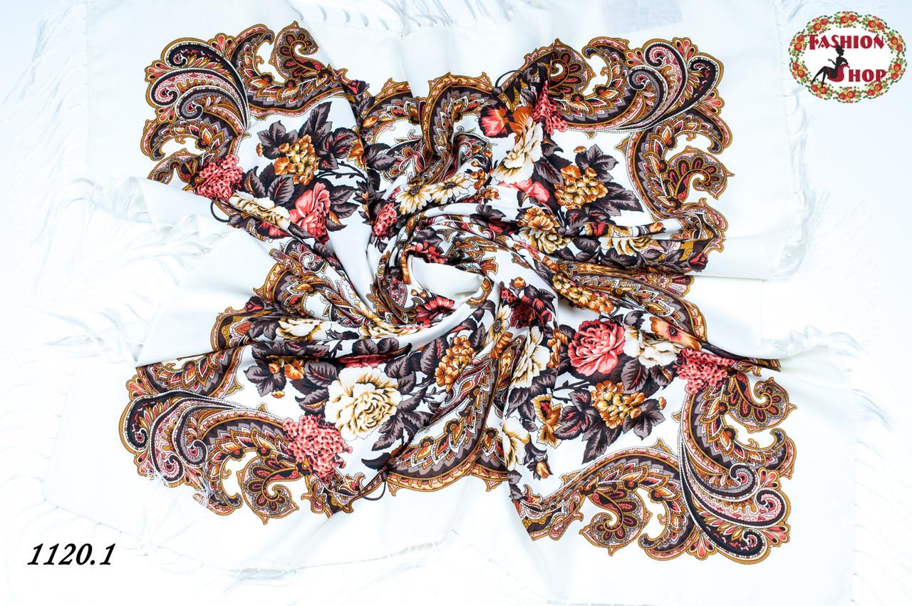 Кремовый павлопосадский шерстяной платок Даниэлла