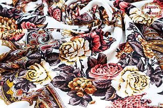 Кремовый павлопосадский шерстяной платок Даниэлла, фото 3