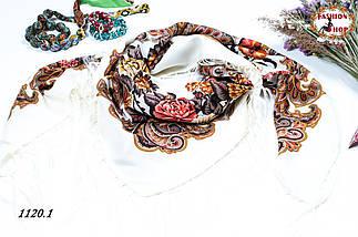 Кремовый павлопосадский шерстяной платок Даниэлла, фото 2