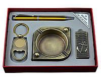 Подарочный набор мужской зажигалка, пепельница, брелок, ручка