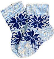 """Шерстяные носки детские """"Шов 2 Снежинка синяя"""""""