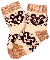 """Шерстяные носки детские """"Шов 3 Мишка коричневый"""""""