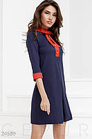 Контрастное платье-клеш. Цвет сине-красный.