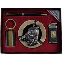 Подарочный набор Конь зажигалка, пепельница, брелок, ручка