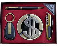 Подарочный набор Доллар, пепельница, складной нож, ручка