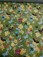 Детский ковролин Бабочки зеленый фон 3м