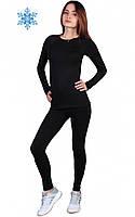 Женское термобелье футболка с длинным рукавом+штаны, черные