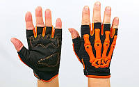 Вело-мото перчатки текстильные Скелет CE-048-OR (открытые пальцы, р-р M-XXL, оранжевый)