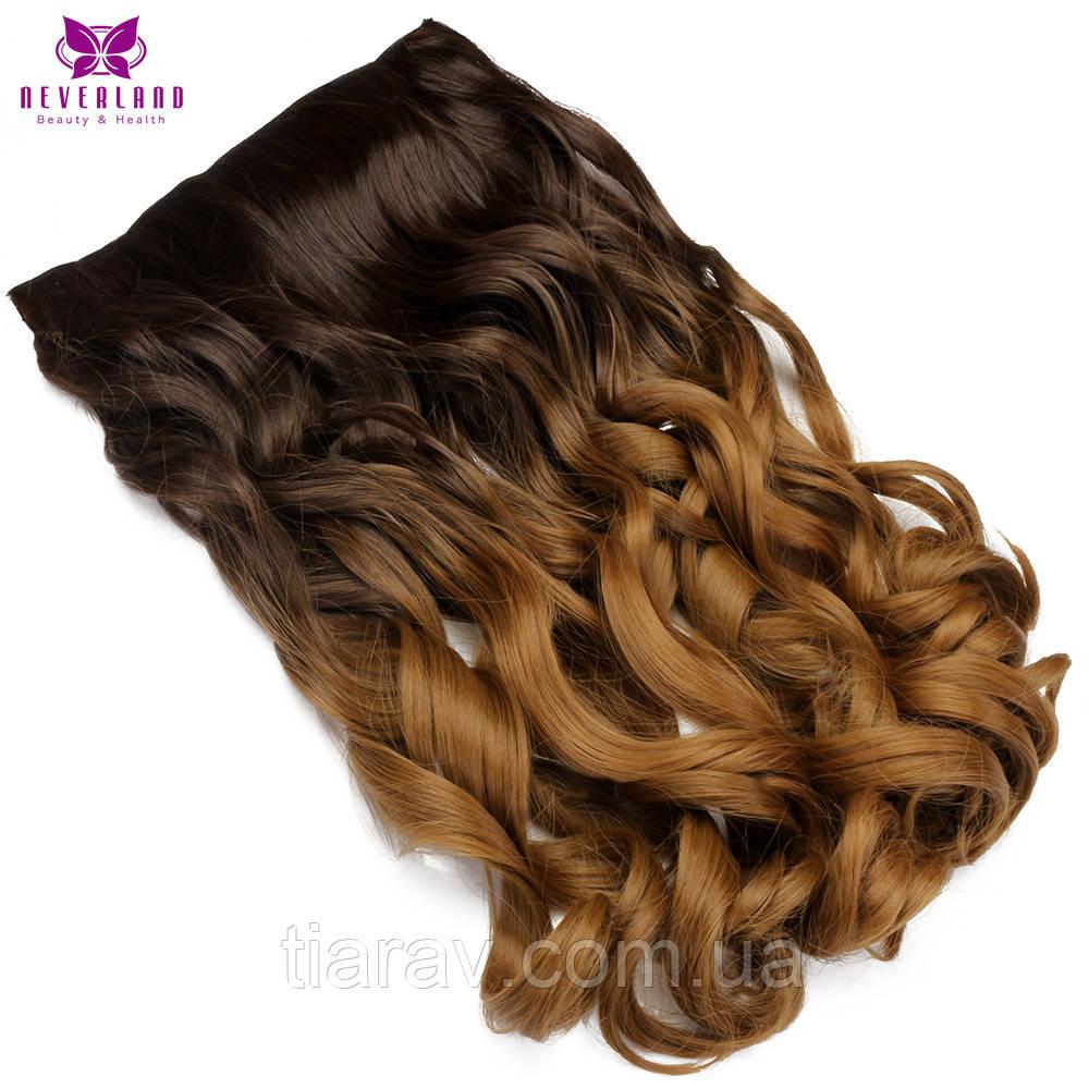 Волосся на заколках термостійкі 60 см на затискачах ОМБРЕ хвилясті на кліпах тресс накладної