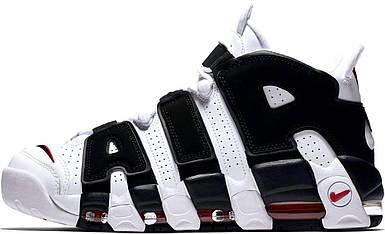 Мужские кроссовки Nike Air More Uptempo White/Black (Топ реплика)